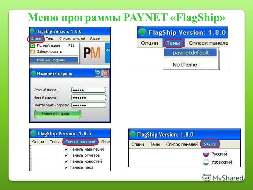 Меню программы PAYNET «FlagShip»