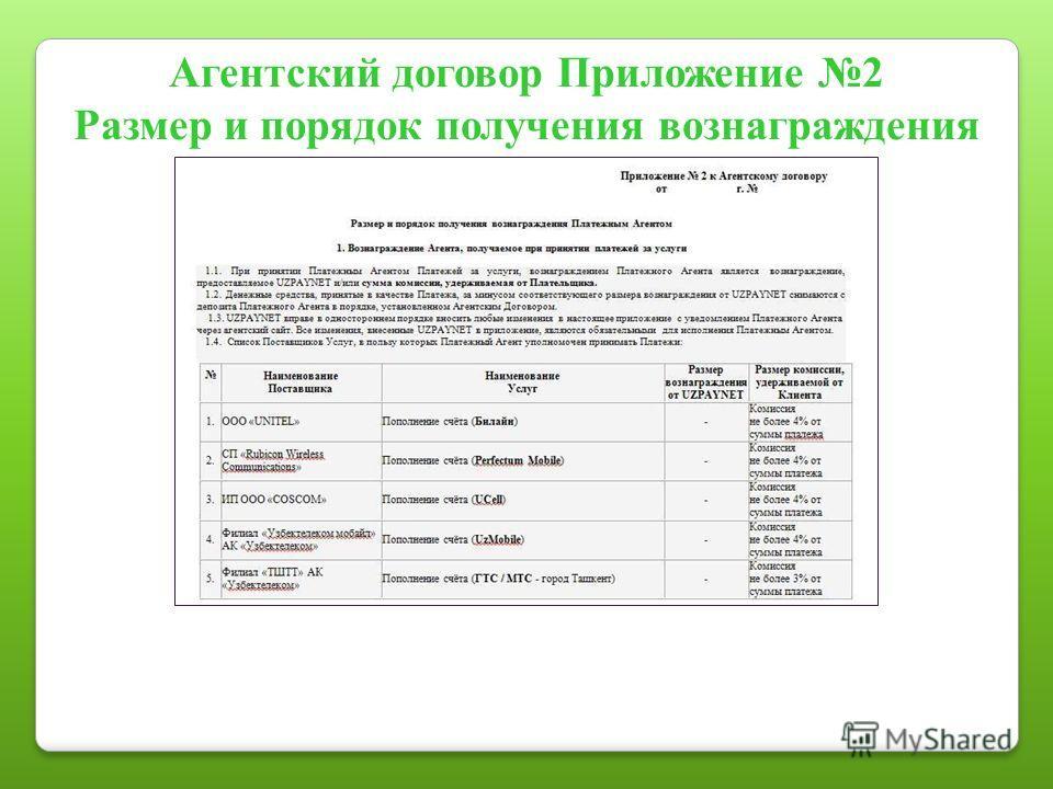 Агентский договор Приложение 2 Размер и порядок получения вознаграждения
