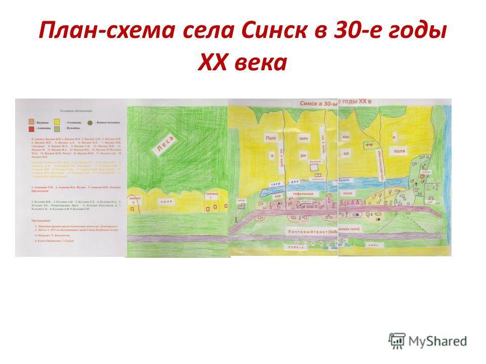 План-схема села Синск в 30-е годы ХХ века