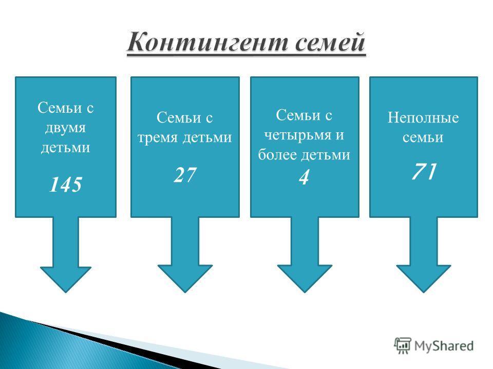 Семьи с двумя детьми 145 Семьи с тремя детьми 27 Семьи с четырьмя и более детьми 4 Неполные семьи 71