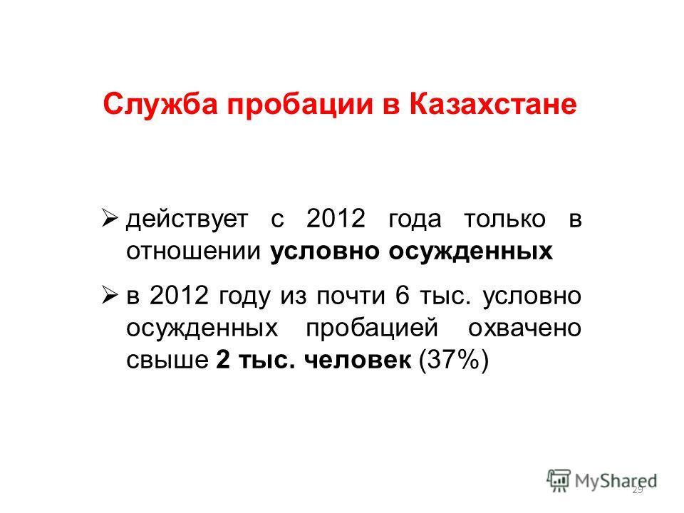действует с 2012 года только в отношении условно осужденных в 2012 году из почти 6 тыс. условно осужденных пробацией охвачено свыше 2 тыс. человек (37%) Служба пробации в Казахстане 29