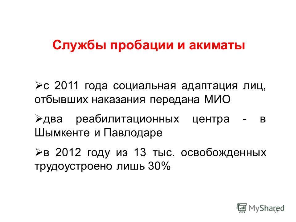 с 2011 года социальная адаптация лиц, отбывших наказания передана МИО два реабилитационных центра - в Шымкенте и Павлодаре в 2012 году из 13 тыс. освобожденных трудоустроено лишь 30% Службы пробации и акиматы 37