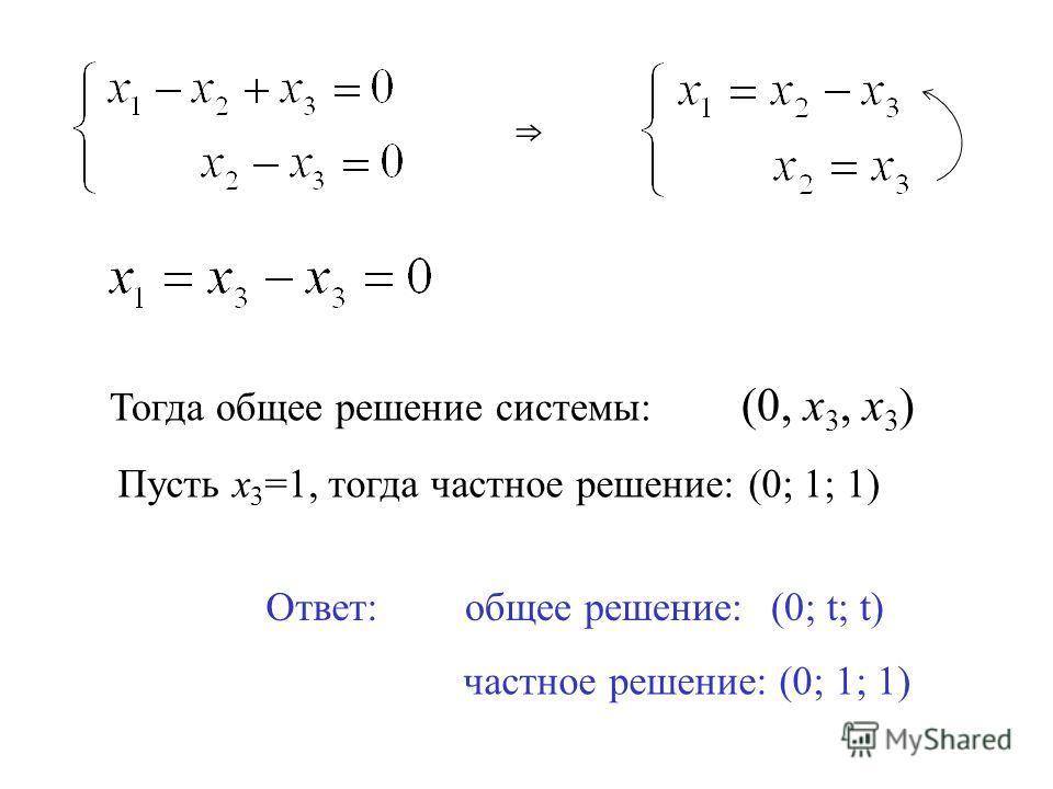 Тогда общее решение системы: (0, х 3, х 3 ) Пусть х 3 =1, тогда частное решение: (0; 1; 1) Ответ: общее решение:(0; t; t) частное решение:(0; 1; 1)