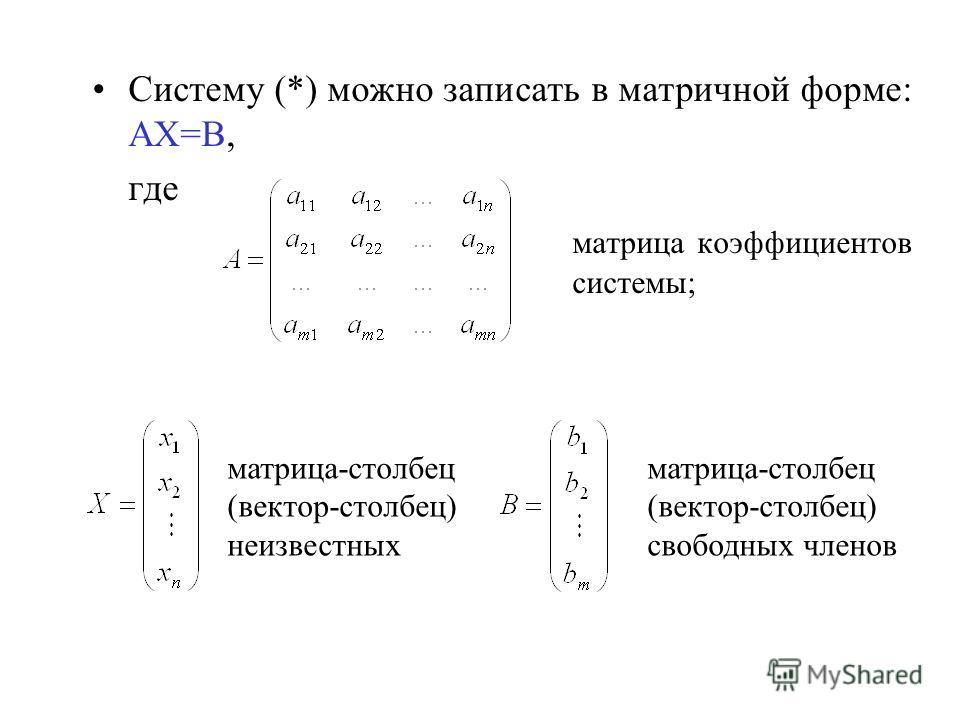 Систему (*) можно записать в матричной форме: АХ=В, где матрица коэффициентов системы; матрица-столбец (вектор-столбец) неизвестных матрица-столбец (вектор-столбец) свободных членов