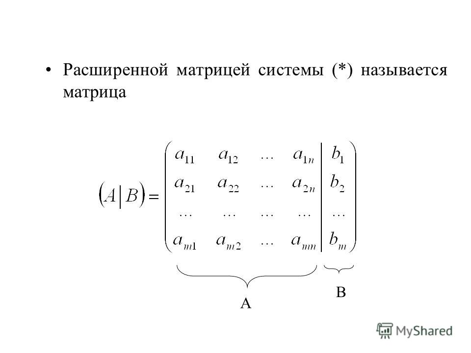 Расширенной матрицей системы (*) называется матрица А В