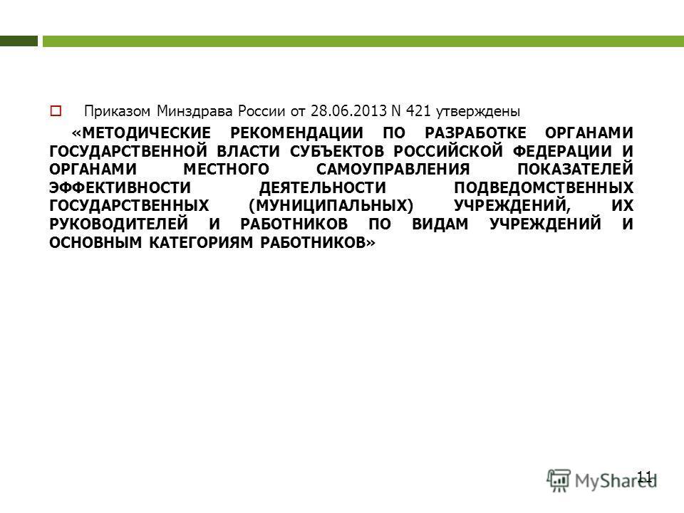 Приказом Минздрава России от 28.06.2013 N 421 утверждены «МЕТОДИЧЕСКИЕ РЕКОМЕНДАЦИИ ПО РАЗРАБОТКЕ ОРГАНАМИ ГОСУДАРСТВЕННОЙ ВЛАСТИ СУБЪЕКТОВ РОССИЙСКОЙ ФЕДЕРАЦИИ И ОРГАНАМИ МЕСТНОГО САМОУПРАВЛЕНИЯ ПОКАЗАТЕЛЕЙ ЭФФЕКТИВНОСТИ ДЕЯТЕЛЬНОСТИ ПОДВЕДОМСТВЕННЫ
