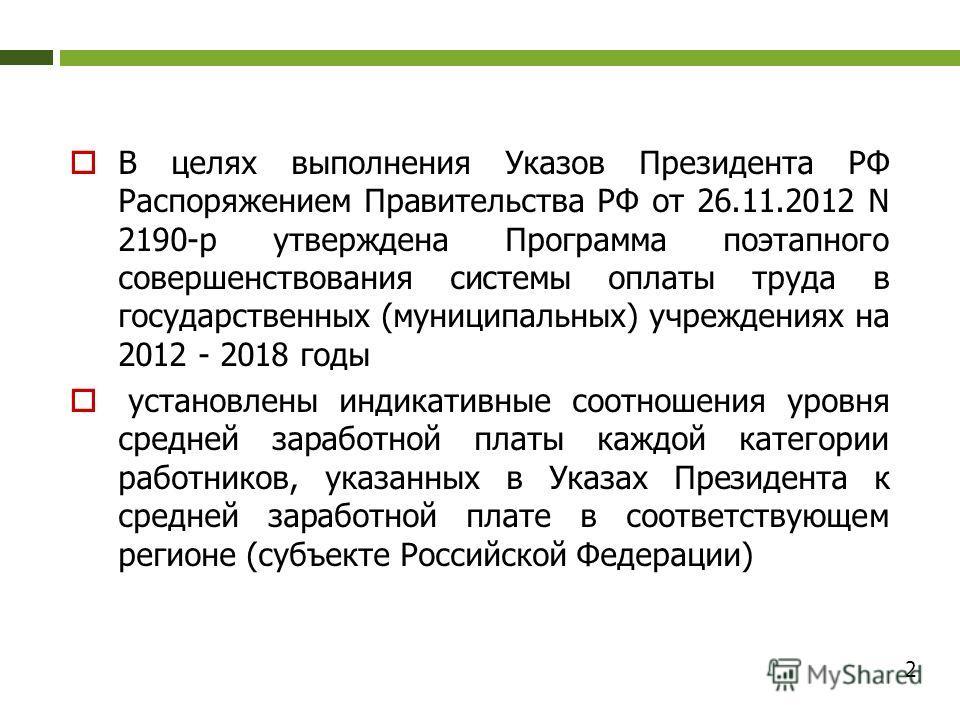 В целях выполнения Указов Президента РФ Распоряжением Правительства РФ от 26.11.2012 N 2190-р утверждена Программа поэтапного совершенствования системы оплаты труда в государственных (муниципальных) учреждениях на 2012 - 2018 годы установлены индикат