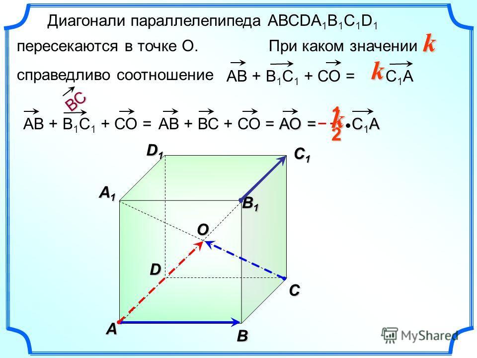 Диагонали параллелепипеда АВСDА 1 В 1 С 1 D 1 пересекаются в точке О. При каком значении справедливо соотношение k A B C A1A1A1A1 B1B1B1B1 C1C1C1C1 D1D1D1D1 D O 2 1k АВ + В 1 С 1 + СО = С 1 A АВ + В 1 С 1 + СО = АВ + ВС + СО = ВС АОk С 1 A С 1 A=