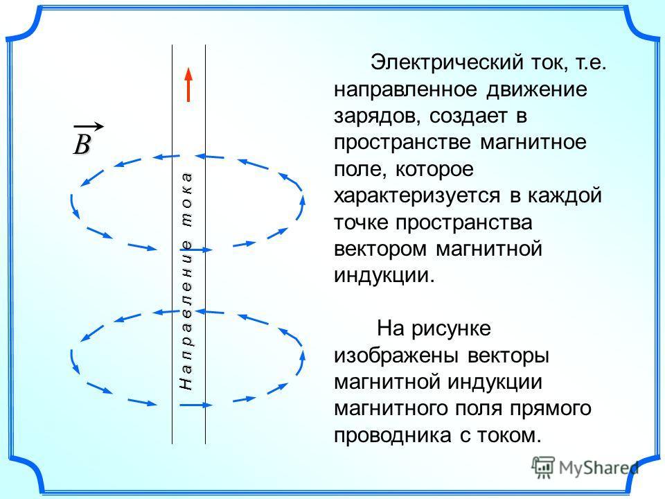 Электрический ток, т.е. направленное движение зарядов, создает в пространстве магнитное поле, которое характеризуется в каждой точке пространства вектором магнитной индукции. На рисунке изображены векторы магнитной индукции магнитного поля прямого пр