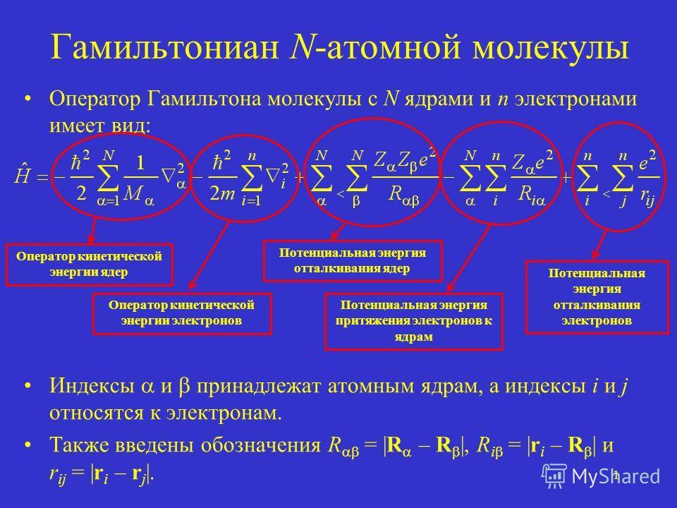 1 Гамильтониан N-атомной молекулы Оператор Гамильтона молекулы с N ядрами и n электронами имеет вид: Индексы и принадлежат атомным ядрам, а индексы i и j относятся к электронам. Также введены обозначения R = |R – R |, R i = |r i – R | и r ij = |r i –