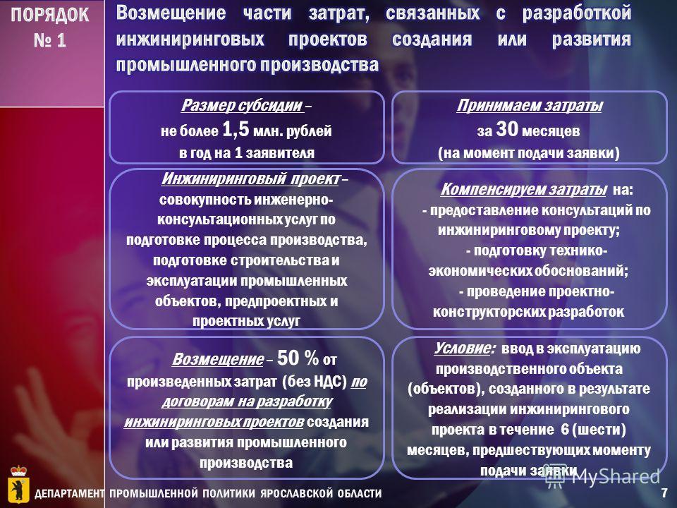 Возмещение – 50 % от произведенных затрат (без НДС) по договорам на разработку инжиниринговых проектов создания или развития промышленного производства Принимаем затраты за 30 месяцев (на момент подачи заявки) Размер субсидии – не более 1,5 млн. рубл