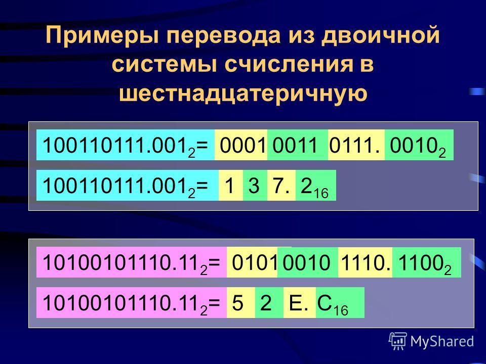 Перевод из восьмеричной системы счисления в двоичную Такой перевод осуществляется путем подстановки: каждая 8-ричная цифра заменяется на соответствующие ей три двоичных. 74.6 8 = 310.5 8 = 111 011 110 2 000. 100. 001101 2