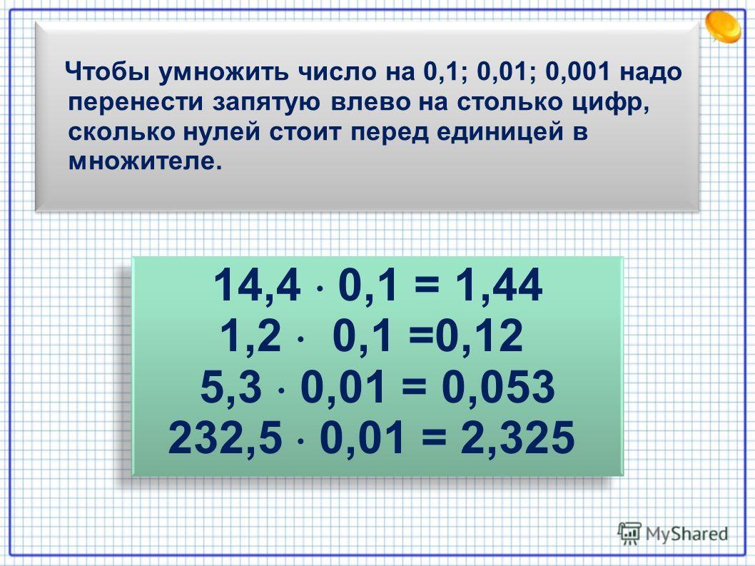 Чтобы умножить число на 0,1; 0,01; 0,001 надо перенести запятую влево на столько цифр, сколько нулей стоит перед единицей в множителе. 14,4 0,1 = 1,44 1,2 0,1 =0,12 5,3 0,01 = 0,053 232,5 0,01 = 2,325 14,4 0,1 = 1,44 1,2 0,1 =0,12 5,3 0,01 = 0,053 23