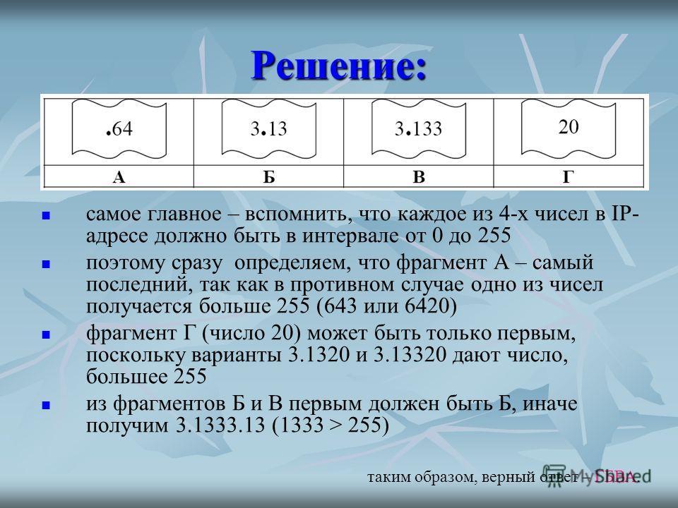 Решение: самое главное – вспомнить, что каждое из 4-х чисел в IP- адресе должно быть в интервале от 0 до 255 поэтому сразу определяем, что фрагмент А – самый последний, так как в противном случае одно из чисел получается больше 255 (643 или 6420) фра