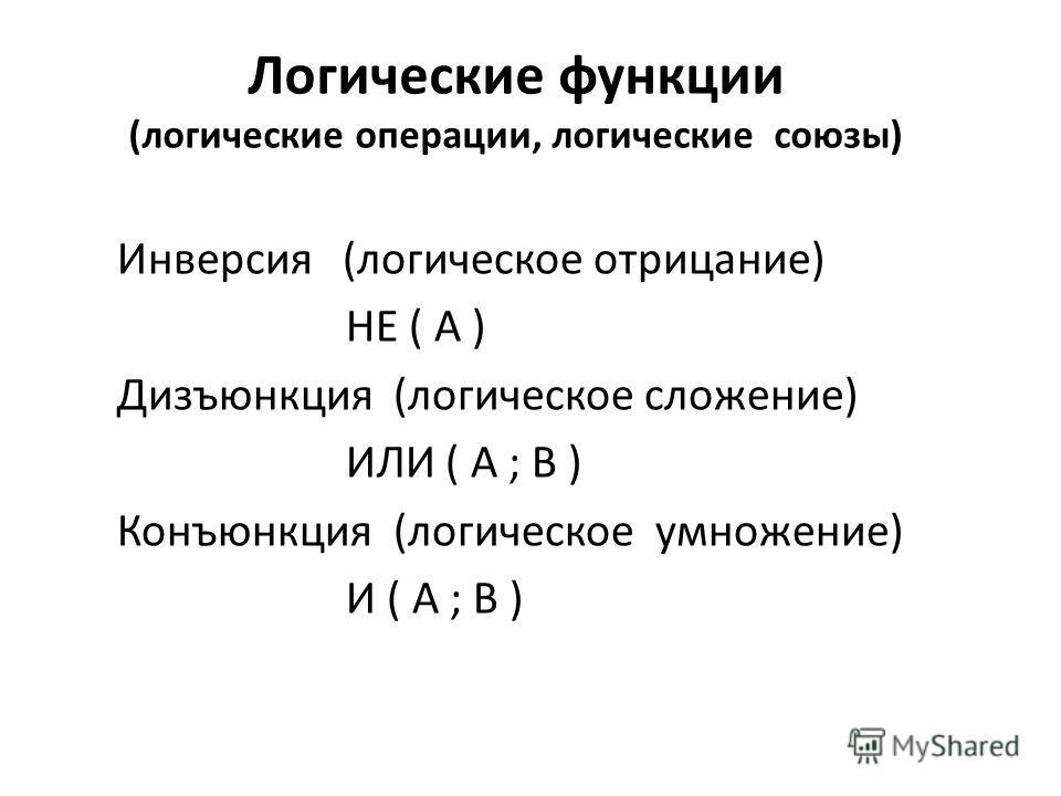 Логические функции (логические операции, логические союзы) Инверсия (логическое отрицание) НЕ ( A ) Дизъюнкция (логическое сложение) ИЛИ ( А ; В ) Конъюнкция (логическое умножение) И ( А ; В )