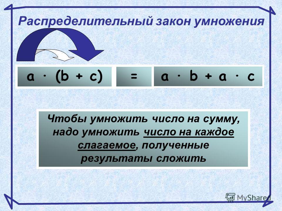 bc a S = a · b + a · c a · ba · c S = a · (b + c) равны 1. Распределительный закон умножения