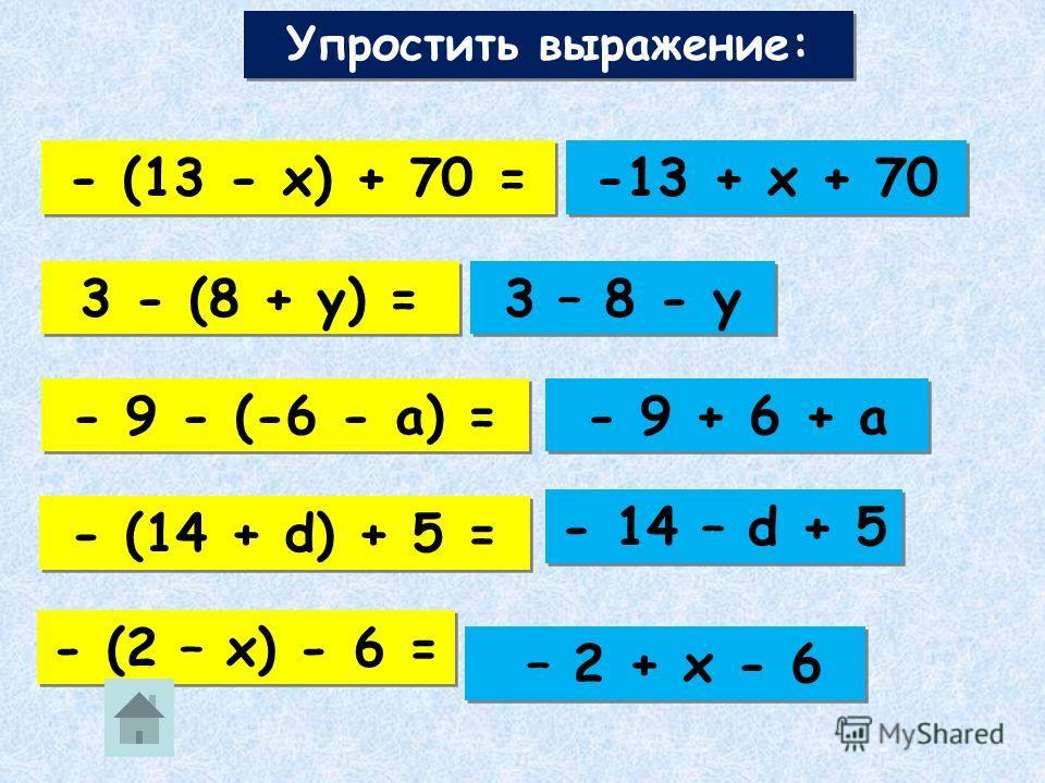 - (х – 3) = - х + 3 - 7 - у - (7 – а) = - 7 + а - (2 + с – d) = - (7 + у) = - 2 – c + d 4 - (2 – x) = 4 – 2 + x Раскрыть скобки: