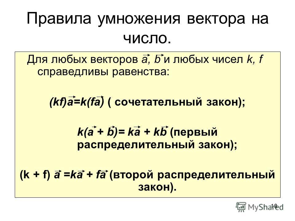 18 Правила умножения вектора на число. Для любых векторов а, b и любых чисел k, f справедливы равенства: (kf)a=k(fa) ( сочетательный закон); k(a + b)= ka + kb (первый распределительный закон); (k + f) a =ka + fa (второй распределительный закон).