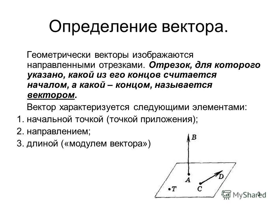 3 Определение вектора. Геометрически векторы изображаются направленными отрезками. Отрезок, для которого указано, какой из его концов считается началом, а какой – концом, называется вектором. Вектор характеризуется следующими элементами: 1. начальной