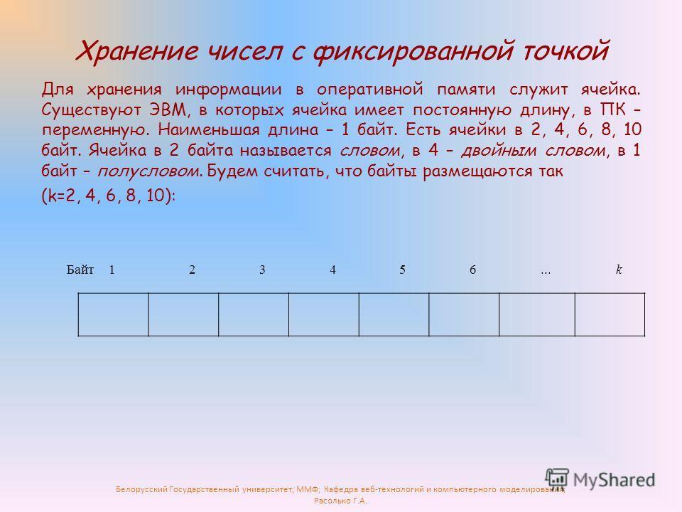 Белорусский Государственный университет; ММФ; Кафедра веб-технологий и компьютерного моделирования; Расолько Г.А. Хранение чисел с фиксированной точкой Для хранения информации в оперативной памяти служит ячейка. Существуют ЭВМ, в которых ячейка имеет