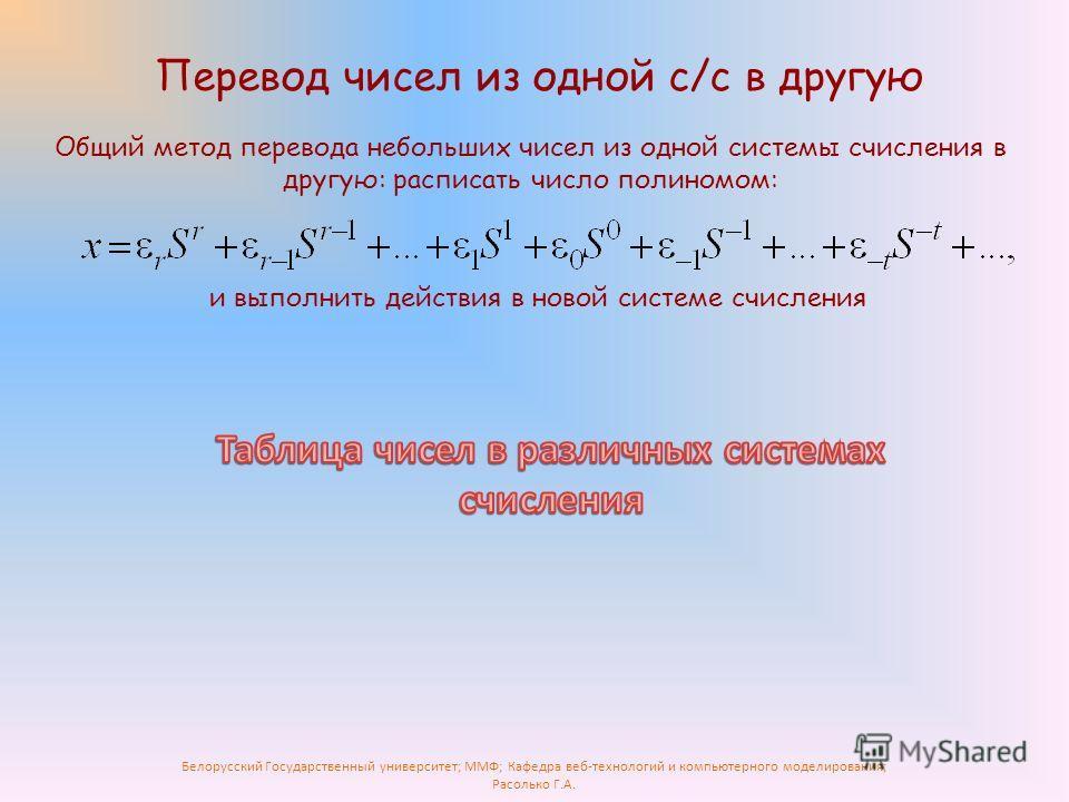 Белорусский Государственный университет; ММФ; Кафедра веб-технологий и компьютерного моделирования; Расолько Г.А. Перевод чисел из одной с/с в другую Общий метод перевода небольших чисел из одной системы счисления в другую: расписать число полиномом: