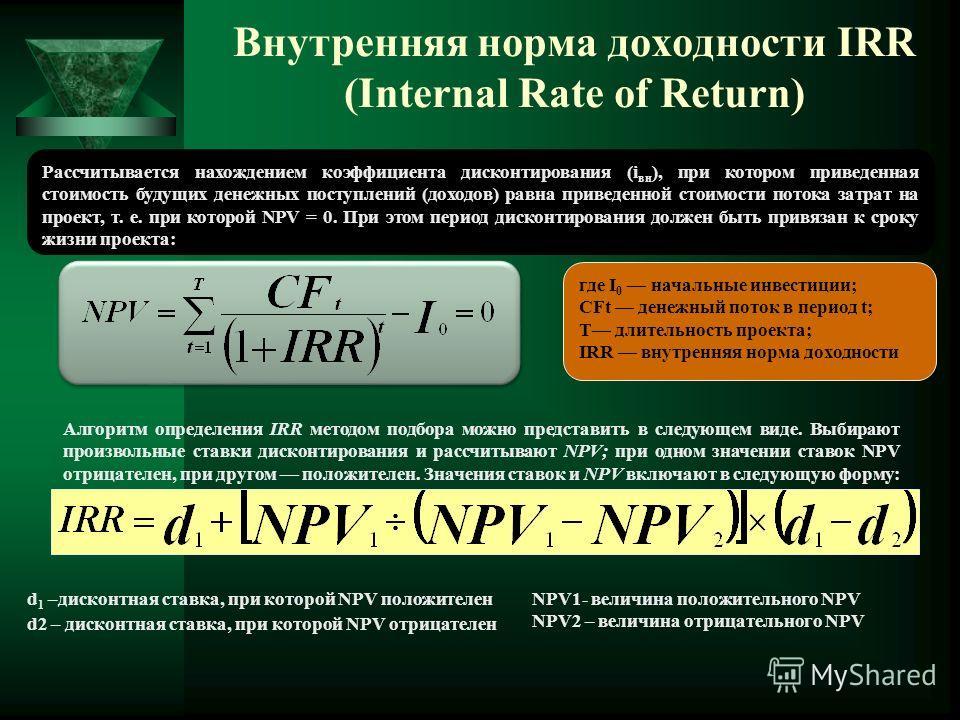 Внутренняя норма доходности IRR (Internal Rate of Return) Рассчитывается нахождением коэффициента дисконтирования (i вн ), при котором приведенная стоимость будущих денежных поступлений (доходов) равна приведенной стоимости потока затрат на проект, т