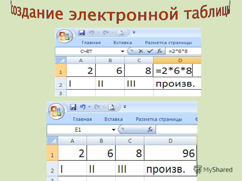 1. ЧИСЛО: По умолчанию электронные таблицы используют числовой формат Экспоненциальный формат Примеры: 62.05 = 6.205·10 1 =6.205Е+1 0.000005 = 5·10 -6 = 5Е-6 0.00025=0.25·10 -3 =0.25Е-3=2.5Е-4 = 25Е-5 2. ТЕКСТ: Последовательность символов, состоящих