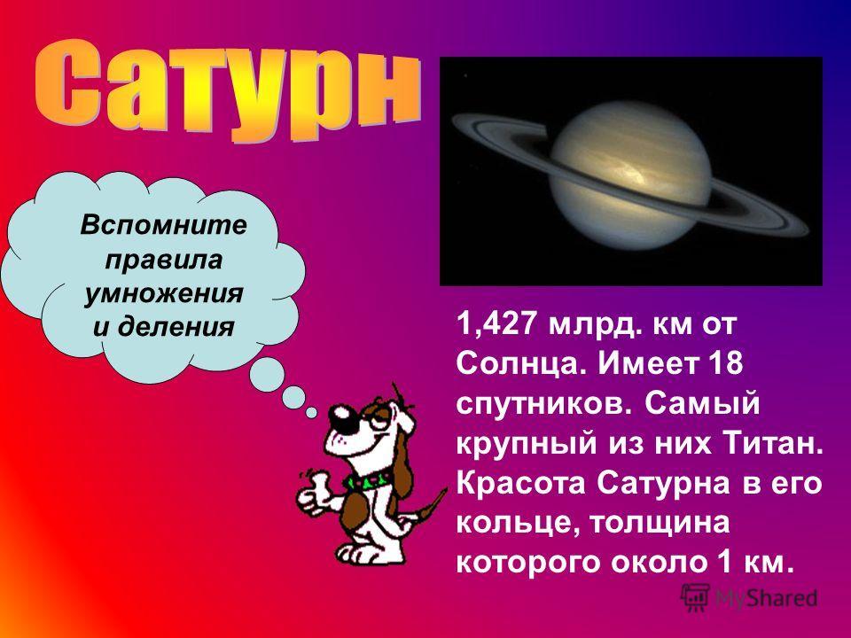 1,427 млрд. км от Солнца. Имеет 18 спутников. Самый крупный из них Титан. Красота Сатурна в его кольце, толщина которого около 1 км. Вспомните правила умножения и деления
