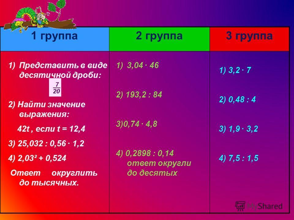 1 группа2 группа3 группа 1) 3,2 7 2) 0,48 : 4 3) 1,9 3,2 4) 7,5 : 1,5 1)3,04 46 2) 193,2 : 84 3)0,74 4,8 4) 0,2898 : 0,14 ответ округли до десятых 1)Представить в виде десятичной дроби: 2) Найти значение выражения: 42t, если t = 12,4 3) 25,032 : 0,56