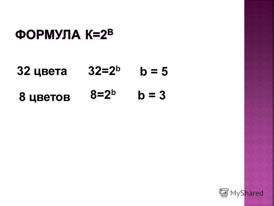 32 цвета32=2 b b = 5 8 цветов 8=2 b b = 3