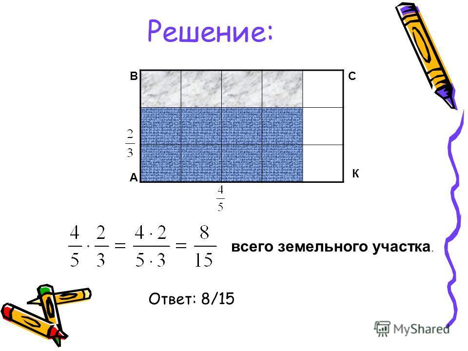 Решение: А ВС К всего земельного участка. Ответ: 8/15