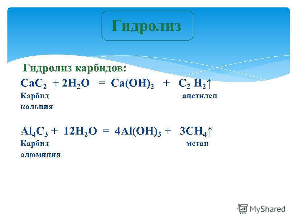 Гидролиз карбидов: CaC 2 + 2H 2 O = Ca(OH) 2 + C 2 H 2 Карбид ацетилен кальция Al 4 C 3 + 12H 2 O = 4Al(OH) 3 + 3CH 4 Карбид метан алюминия Гидролиз