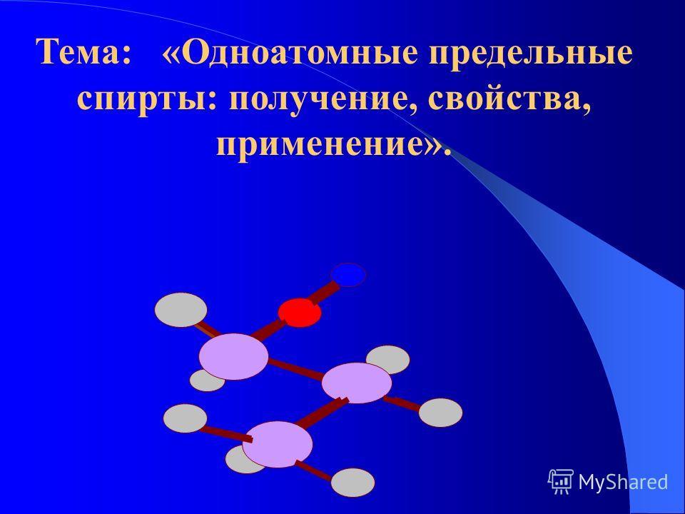Тема: «Одноатомные предельные спирты: получение, свойства, применение».