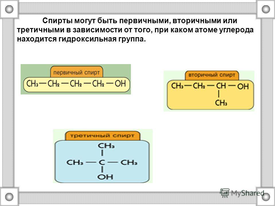 Спирты могут быть первичными, вторичными или третичными в зависимости от того, при каком атоме углерода находится гидроксильная группа.