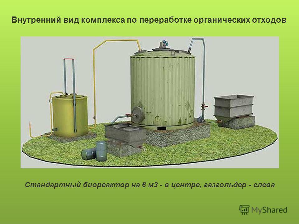 Внутренний вид комплекса по переработке органических отходов Стандартный биореактор на 6 м3 - в центре, газгольдер - слева