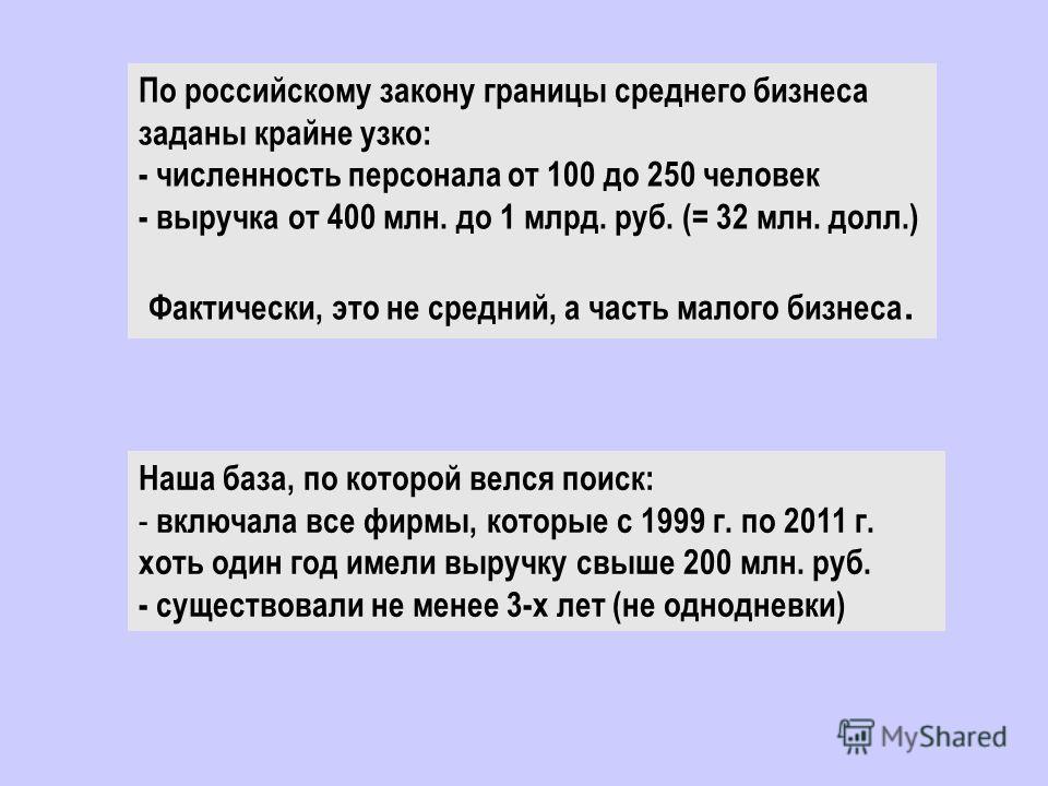 По российскому закону границы среднего бизнеса заданы крайне узко: - численность персонала от 100 до 250 человек - выручка от 400 млн. до 1 млрд. руб. (= 32 млн. долл.) Фактически, это не средний, а часть малого бизнеса. Наша база, по которой велся п