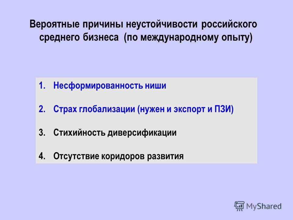 Вероятные причины неустойчивости российского среднего бизнеса (по международному опыту) 1.Несформированность ниши 2.Страх глобализации (нужен и экспорт и ПЗИ) 3.Стихийность диверсификации 4.Отсутствие коридоров развития