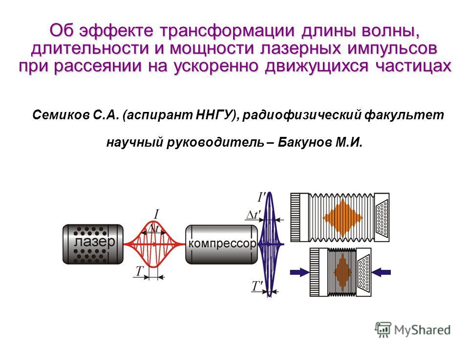 Об эффекте трансформации длины волны, длительности и мощности лазерных импульсов при рассеянии на ускоренно движущихся частицах Об эффекте трансформации длины волны, длительности и мощности лазерных импульсов при рассеянии на ускоренно движущихся час