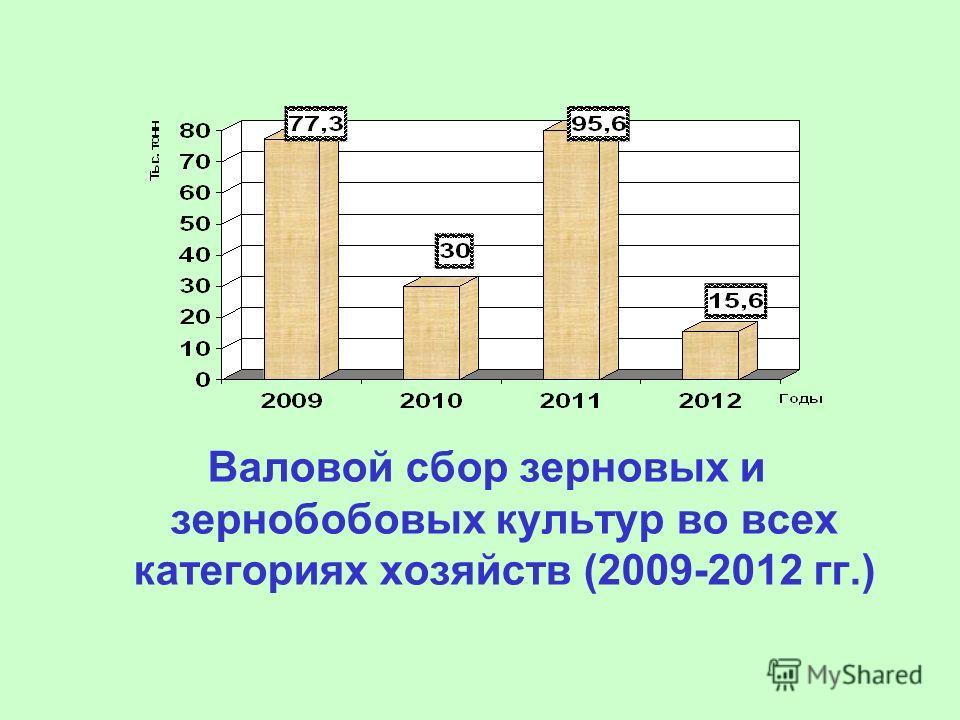 Валовой сбор зерновых и зернобобовых культур во всех категориях хозяйств (2009-2012 гг.)