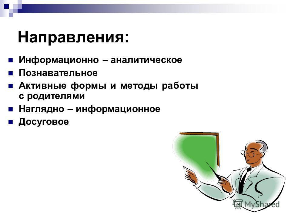 Направления: Информационно – аналитическое Познавательное Активные формы и методы работы с родителями Наглядно – информационное Досуговое