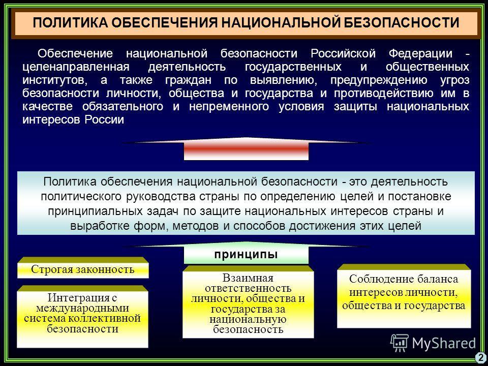 2 Обеспечение национальной безопасности Российской Федерации - целенаправленная деятельность государственных и общественных институтов, а также граждан по выявлению, предупреждению угроз безопасности личности, общества и государства и противодействию