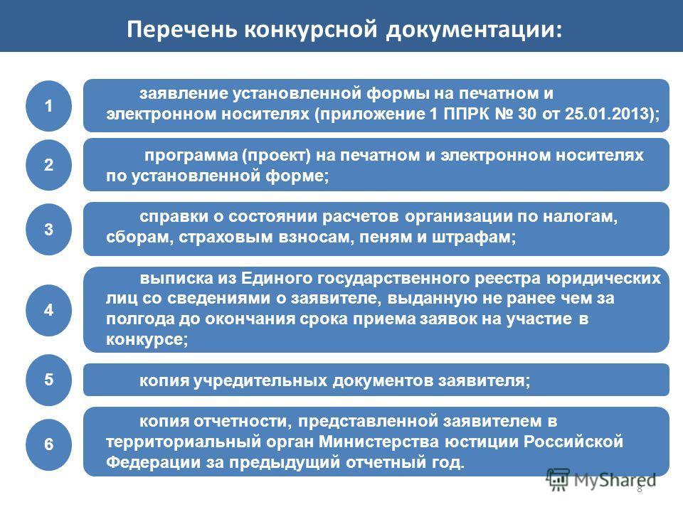 8 заявление установленной формы на печатном и электронном носителях (приложение 1 ППРК 30 от 25.01.2013); программа (проект) на печатном и электронном носителях по установленной форме; справки о состоянии расчетов организации по налогам, сборам, стра