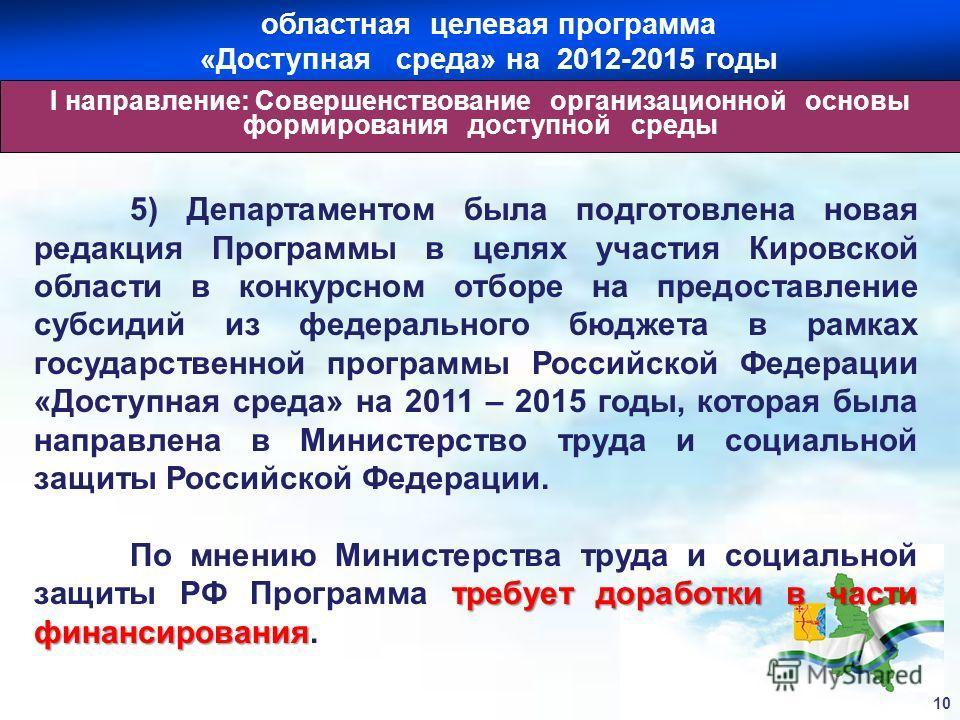 5) Департаментом была подготовлена новая редакция Программы в целях участия Кировской области в конкурсном отборе на предоставление субсидий из федерального бюджета в рамках государственной программы Российской Федерации «Доступная среда» на 2011 – 2