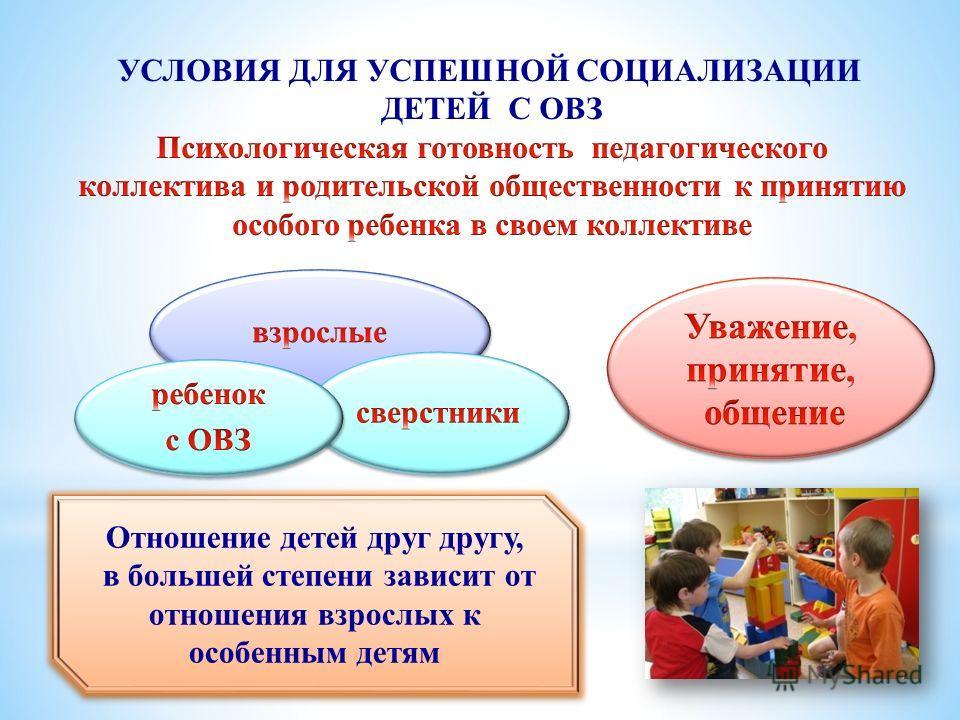 Отношение детей друг другу, в большей степени зависит от отношения взрослых к особенным детям Отношение детей друг другу, в большей степени зависит от отношения взрослых к особенным детям
