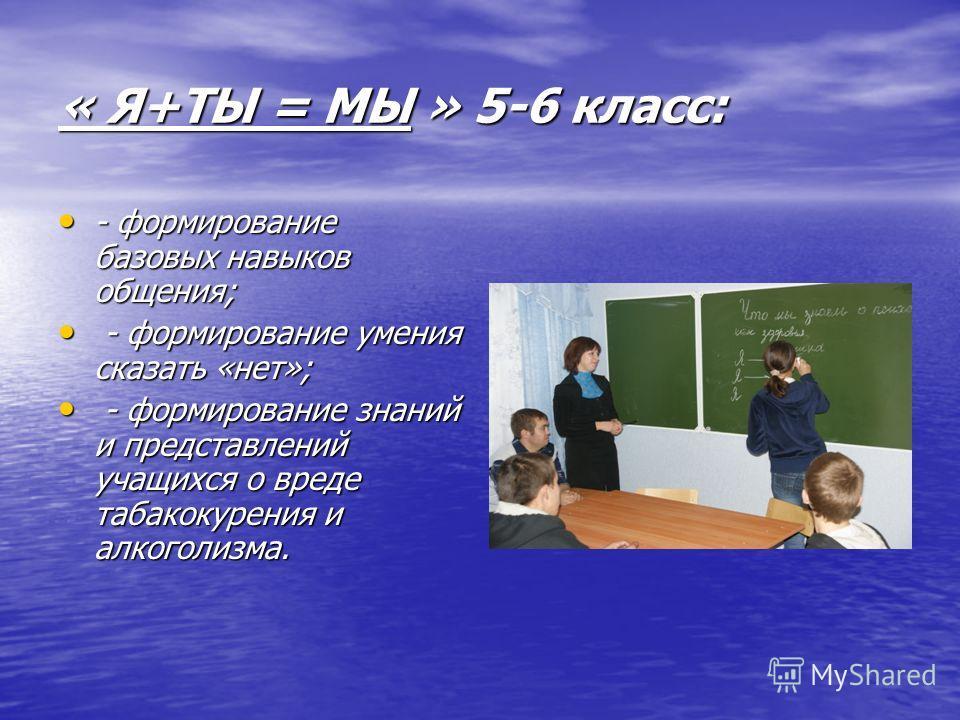 « Я+ТЫ = МЫ » 5-6 класс: - формирование базовых навыков общения; - формирование базовых навыков общения; - формирование умения сказать «нет»; - формирование умения сказать «нет»; - формирование знаний и представлений учащихся о вреде табакокурения и
