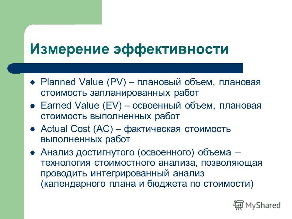 Измерение эффективности Planned Value (PV) – плановый объем, плановая стоимость запланированных работ Earned Value (EV) – освоенный объем, плановая стоимость выполненных работ Actual Cost (AC) – фактическая стоимость выполненных работ Анализ достигну
