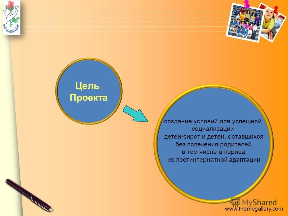 www.themegallery.com создание условий для успешной социализации детей-сирот и детей, оставшихся без попечения родителей, в том числе в период их постинтернатной адаптации Цель Проекта
