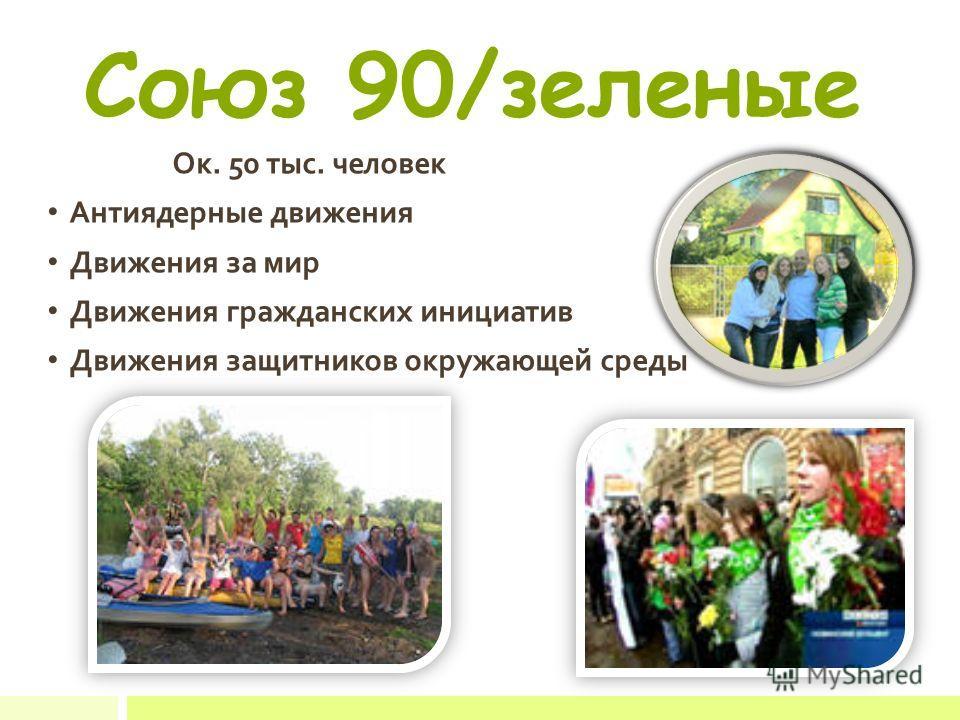 Союз 90/зеленые Ок. 50 тыс. человек Антиядерные движения Движения за мир Движения гражданских инициатив Движения защитников окружающей среды