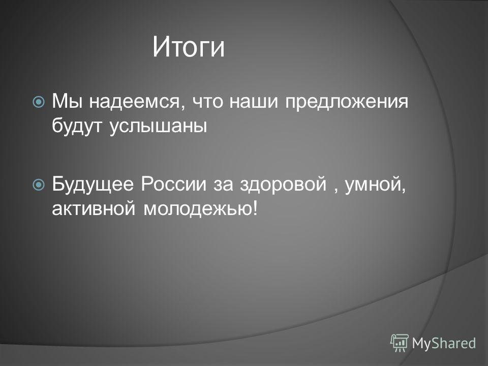 Итоги Мы надеемся, что наши предложения будут услышаны Будущее России за здоровой, умной, активной молодежью!