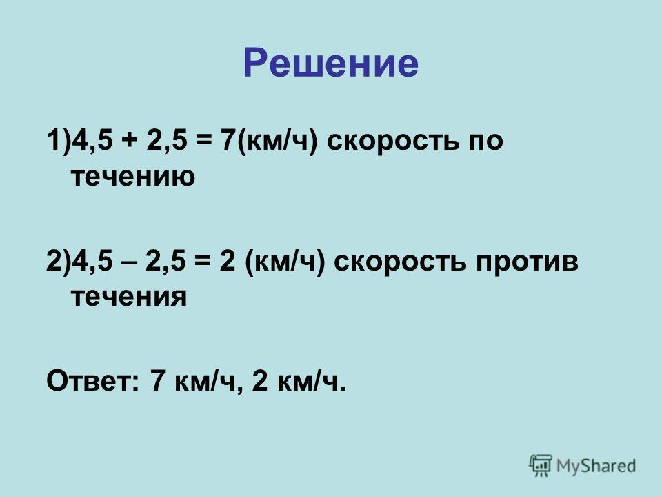 Решение 1)4,5 + 2,5 = 7(км/ч) скорость по течению 2)4,5 – 2,5 = 2 (км/ч) скорость против течения Ответ: 7 км/ч, 2 км/ч.